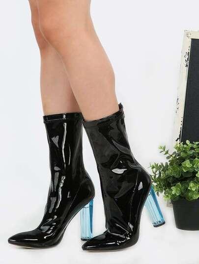 Pointed Toe Crystal Heel Booties BLACK