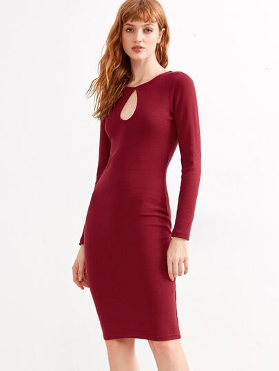 Burgundy Keyhole Front Ribbed Pencil Dress