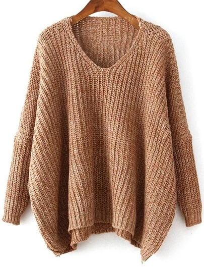 Plunge Neck Batwing Sleeve Dip Hem Oversized Sweater