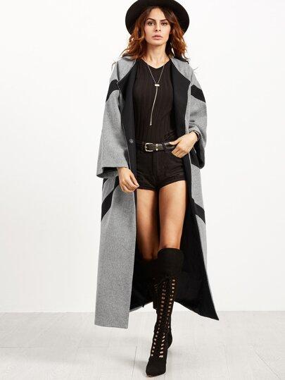 معطف طويل فضفاض رمادي أسود كم طويل