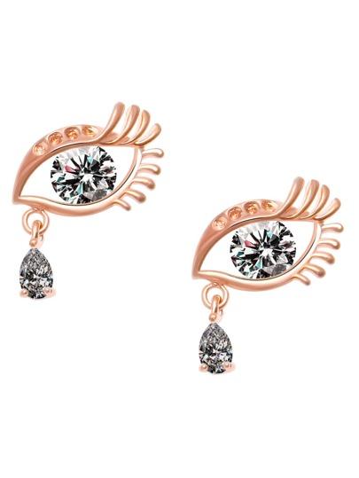 Gold Plated Rhinestone Eye Stud Earrings