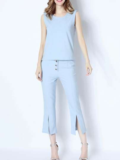 Blue Crew Neck Top With Pockets Split Pants