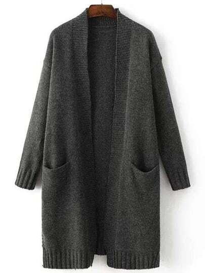 Black Collarless Ribbed Trim Slit Long Sweater Coat