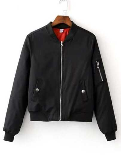 Black Zipper Bomber Jacket With Arm Pocket