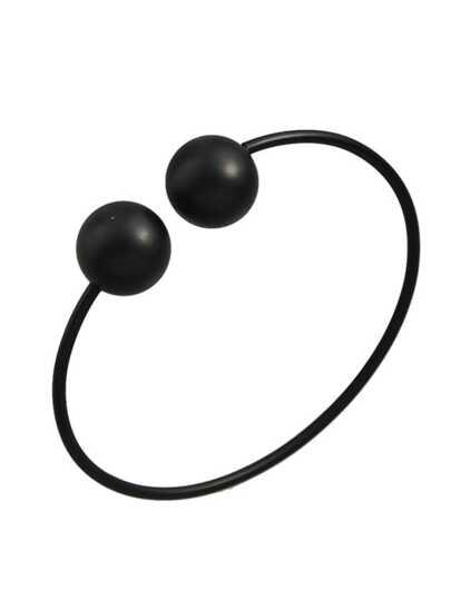 Black Simple Model Double Metal Ball Thin Bracelet
