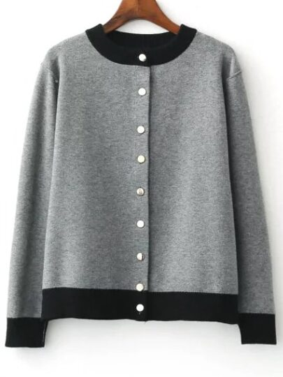 Grey Single Breasted Knitted Bomber Jacket