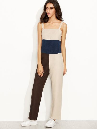 Color Block Faux Suede Mixed Media Jumpsuit
