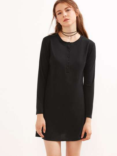 Black Button Front Shift Dress