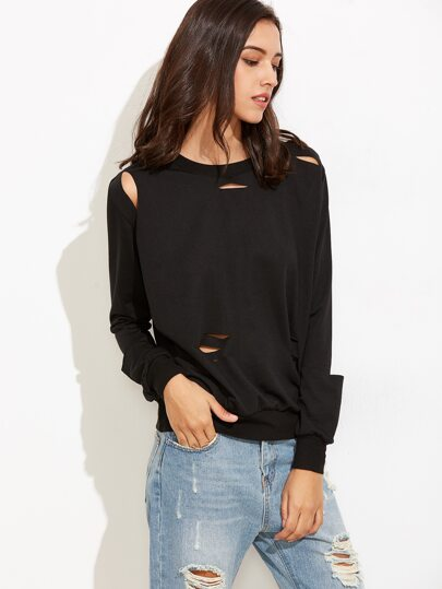 Black Long Sleeve Distressed Sweatshirt