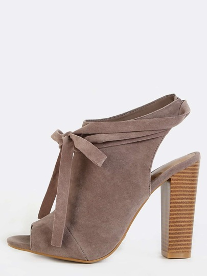 Wrap Tie Suede Mule Booties TAUPE