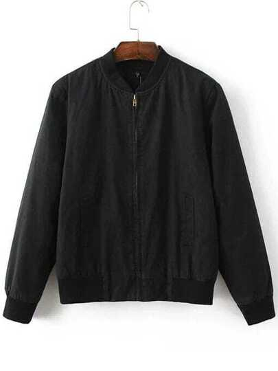 Black Zipper Padded Baseball Jacket