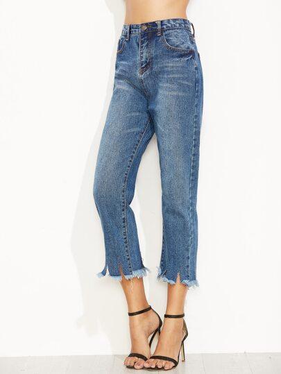 Blue Raw Hem Slit Straight Jeans