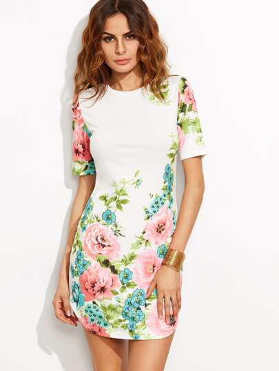 Calico Print Curved Hem Dress
