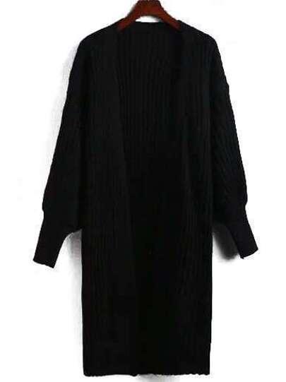 Black Lantern Sleeve Ribbed Cardigan