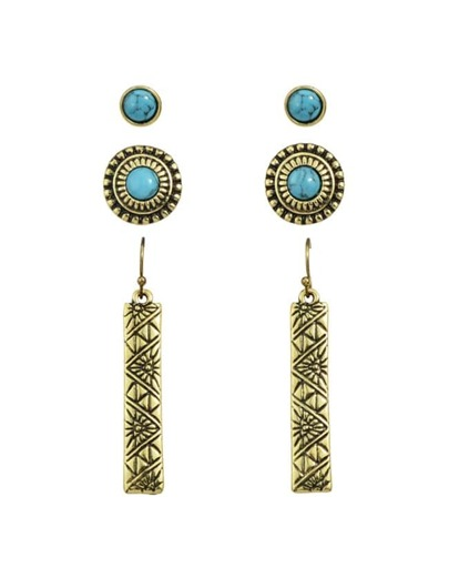 Gold Turquoise Stud Earrings Set