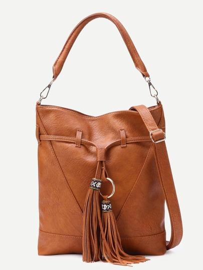 Brown Faux Leather Tassel Trim Drawstring Bucket Bag
