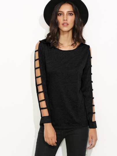 Black Ladder Cut Out Sleeve T-shirt