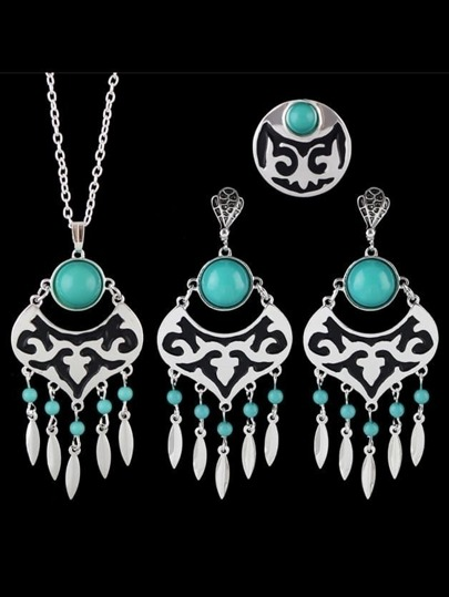 Blue Wedding Jewelry Imitation Gemstone Necklace Earring Ring Set