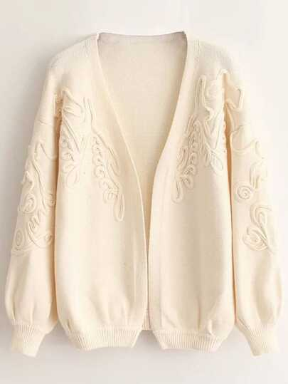 Ivory Textured Drop Shoulder Lantern Sleeve Sweater Coat