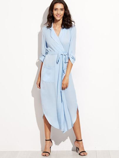 Blue Roll Tab Sleeve Curved Hem Belted Shirt Dress