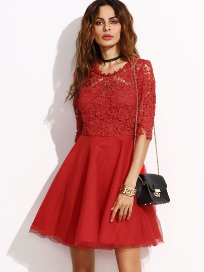 Red Flower Lace Top 2 In 1 Skater Dress With Cutout Back