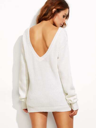 White V Back Drop Shoulder Sweater