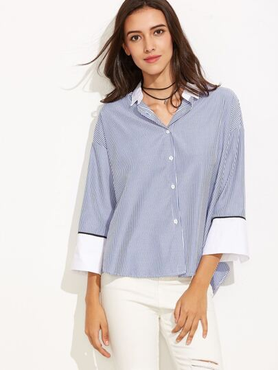 Blue Striped Embroidered Contrast Trim Dip Hem Shirt