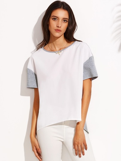 Color Block Drop Shoulder Short Sleeve High Low T-shirt