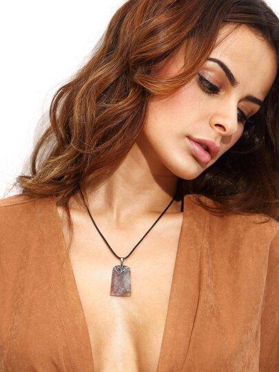 Rhinestone Embellished Faux Crystal Pendant Necklace