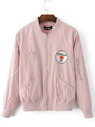 Pink Embroidered Patch Bomber Jacket