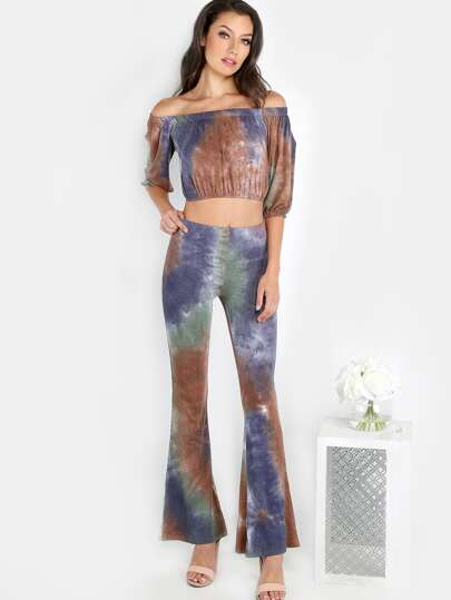 Tie Dye Gathered Crop Co-Ord Set BROWN