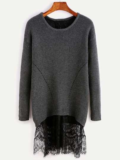 Black Drop Shoulder Split Back Sweater With Lace Detail