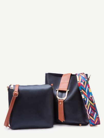 Black Contrast Buckle Geometric Strap Bag With Crossbody Bag