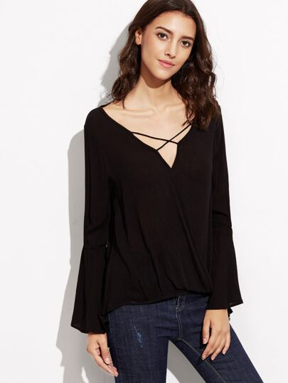 Black Criss Cross Front Bell Sleeve Blouse