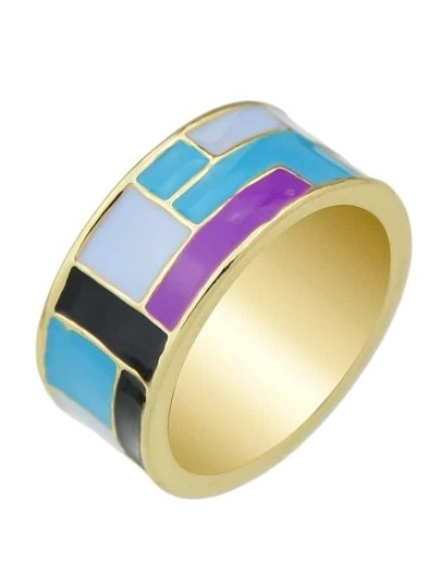 Purple Ethnic Enamel Finger Ring
