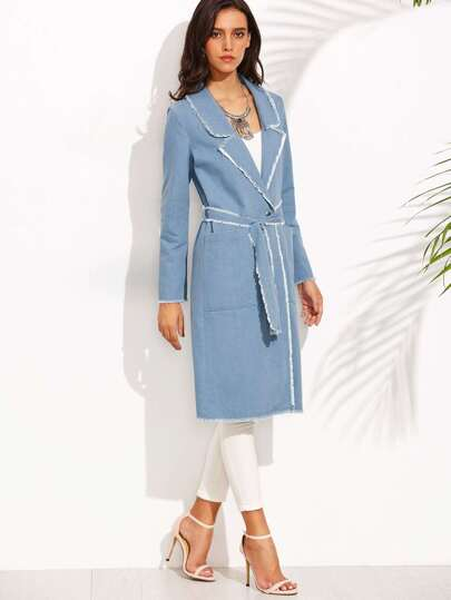 Blue Lapel Raw Trim Tie Waist Long Outerwear
