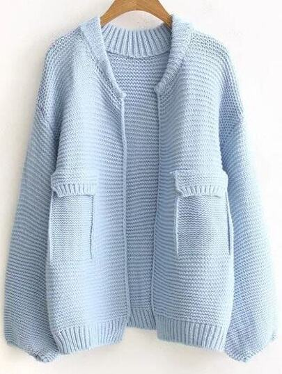 Blue Ribbed Trim Open Front Sweater Coat With Fake Pockets