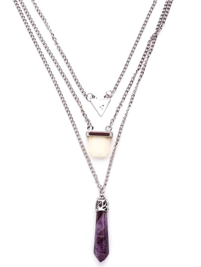 Purple Crystal Geometric Pendant Layered Necklace