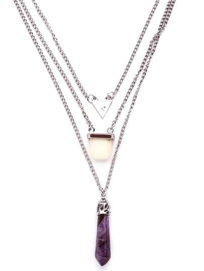 Collier avec pendentif géométrique en stras - pourpre