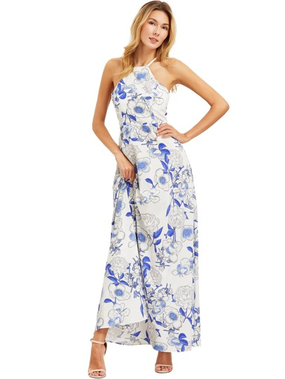 Bianco Scollo all'americana stampa floreale Dress Maxi