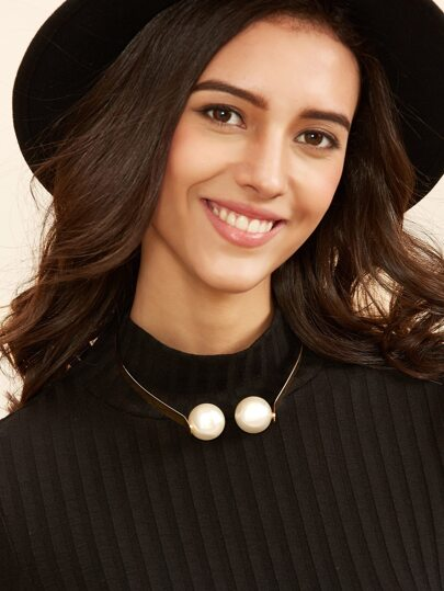 Gold Plated Double Faux Pearl Choker Necklace
