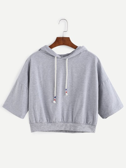 Grey Dropped Shoulder Hooded Crop Sweatshirt