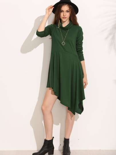 Green Turtleneck Asymmetric Hem Swing Dress