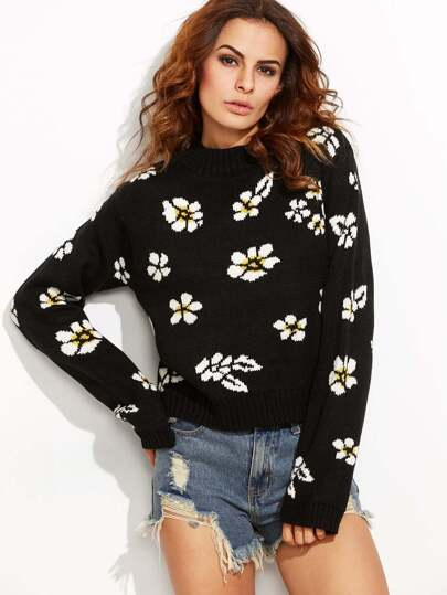 Black Ribbed Trim Pullover Flower Sweater