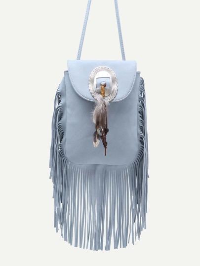 Blue Feather Embellished Fringe Trim Flap Bag