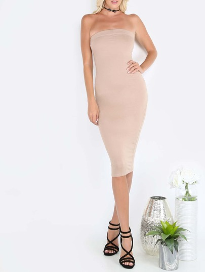 Dark Nude Tube Sleeveless Sheath Midi Dress