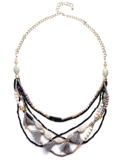 Multicolor Layered Beaded Tassel Statement Necklace