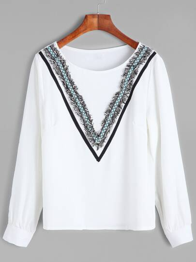 White Embroidered Tape Detail Fringe Blouse