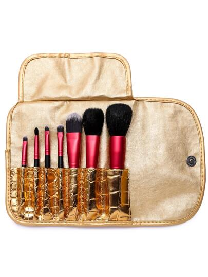 7PCS Red Professional Makeup Brush Set With Gold Bag