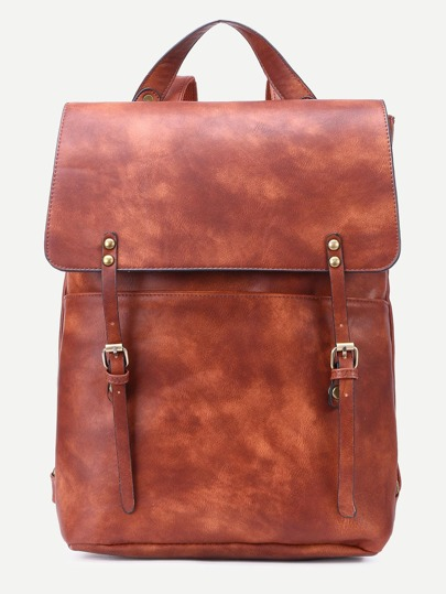 Brown Double Buckle Strap Flap Backpack